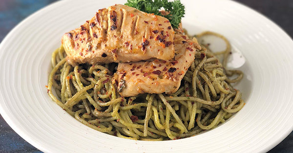 Peri Peri Grilled Chicken on Pesto Cream Spaghetti