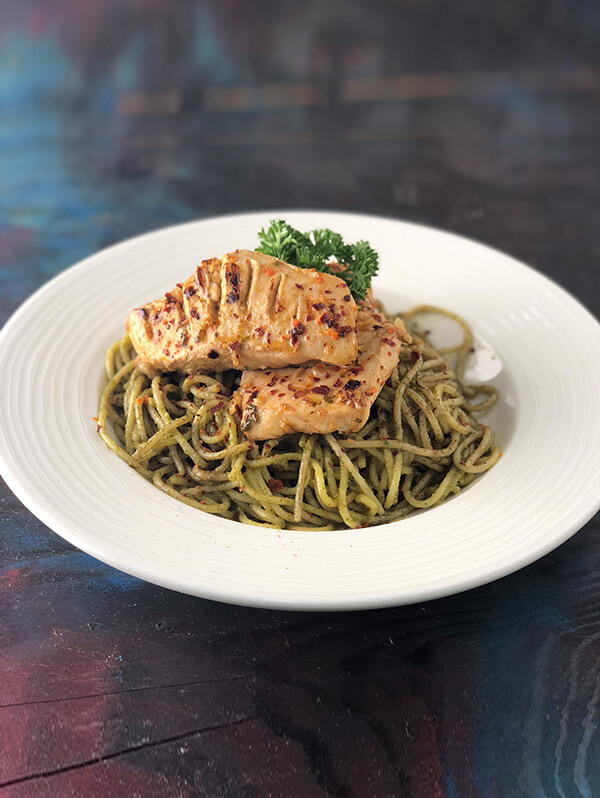Peri Peri Grilled Chicken on Pesto Cream Spaghetti Image