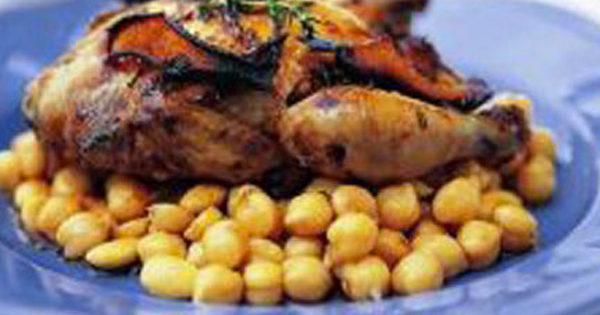 Citrus spatchcocks with warm chickpeas & almonds