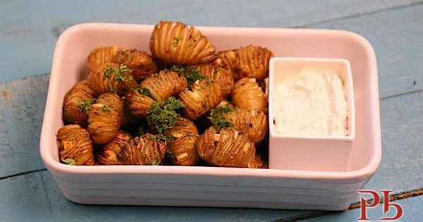 Hasselback Baby Potatoes with Herbed Sour Cream